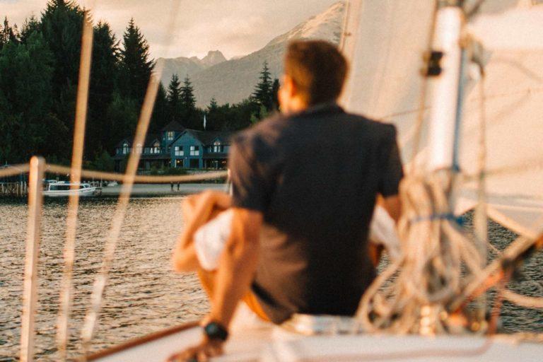 sailing the lake in villa la angostura